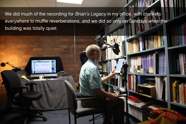 Siegfried Othmer recording audio tracks for Brian's Legacy in his office, with blankets everywhere to muffle reverberations.